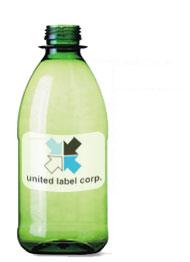 film label on bottle with united label logo