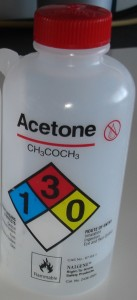 chemical label on nalgene bottle