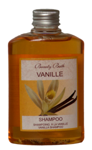 vanille-shampoo-orange Cosmetic Labels example of Matte Coated Paper Labels
